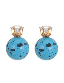 Sweet Blue Scrawl Pattern Decorated Ball Shape Earring