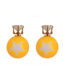 Lovely Yellow Diamond&star Pattern Decorated Simple Earrings