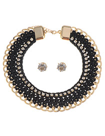 Fashion Black Diamond Weaving Design Short Chain Necklace