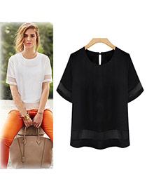 Trendy Black Pure Color Decorated Short Sleeve Large Size T-shirt