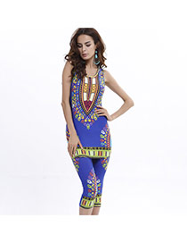 Fashion Blue Geometric Shape Pattern Decorated Sleeveless Simple Suits