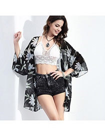 Sexy Black Big Leaf Shape Pattern Decorated Three Quarter Sleeve Losse Bikini Cover Up Smock