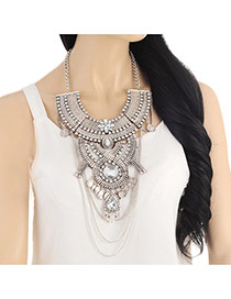 Exaggerate Silver Color Geometric Diamond &coin Decorated Collar Necklace