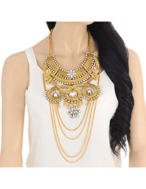 Exaggerate Gold Color Flower Pendant Decorated Tassel Short Chain Necklace