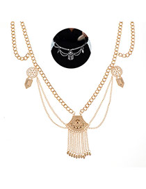 Elegant Gold Color Metal Tassel Pendant Decorated Body Chain