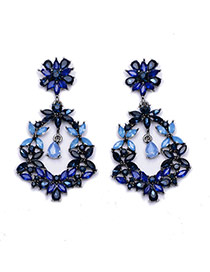Exquisite Blue Flower Shape Decorated Waterdop Pendant Earring