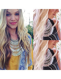 Exaggerated Anti-silver Coins Shape Tassel Pendant Short Chain Necklace