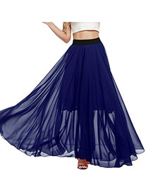 Bohemia Sapphire Blue Pure Color Decorated Beach Long Skirts