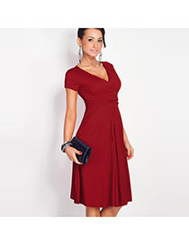 Sexy Claret-red Pure Color Decorated Short Sleeve Deep V Fold Dress