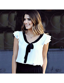 Sweet White Bowknot Decorated Color Matching V Neck Design Sleeveless Blouse