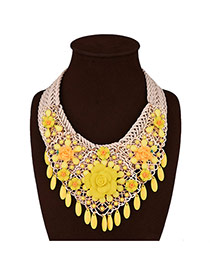 Exaggerated Yellow Beads Tassel Pendant Flower Decorated Hand-woven Necklace