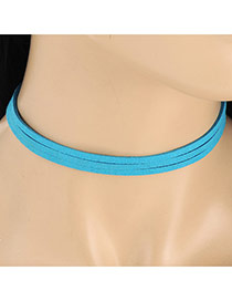 Elegant Blue Pure Color Decorated Multilayer Collar Necklace