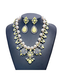 Luxury Yellow Flower Shape Decorated Double Layer Jewelry Sets