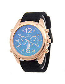 Fashion Black Big Digit Decorated Pure Color Strap Watch