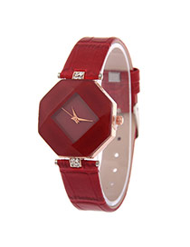 Exquisite Red Rhombus Dial Plate Decorated Pure Color Strap Watch