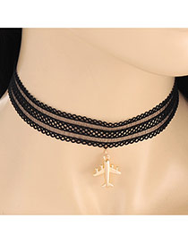 Fashion Black Airplane Shape Pendant Decorated Lace Necklace