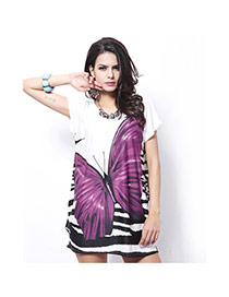 Fashion Purple Butterfly Pattern Decorated Short Sleeve Long T-shirt
