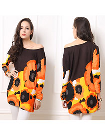 Exaggerate Orange Flowers Pattern Decorated Long Sleeve Short Dress