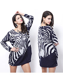 Fashion Blue Zebra-stripe Pattern Decorated Long Sleeve Short Dress