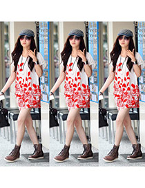 Fashion Red Leaf&flower Pattern Decorated Short Sleeve Short Dress