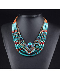Fashion Green Round Shape & Beads Decorated Multilayer Necklace