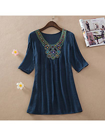 Casual Navy Embroidery Pattern Decorated Short Sleeve Long Blouse