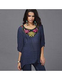 Casual Navy Embroidery Pattern Decorated Three Quarters Sleeve Long Blouse