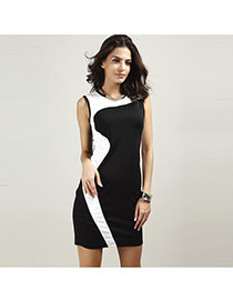 Trendy Black+white Color Matching Decorated Sleeveless Package Hip Pencil Dress