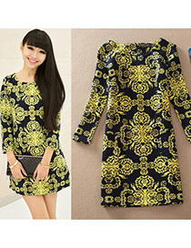 Casual Black Fluorescence Pattern Decorated Long Sleeve Large Size Slim Dress
