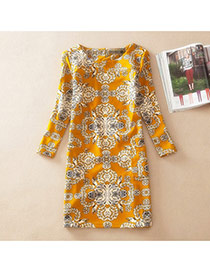 Casual Yellow Fluorescein Pattern Decorated Long Sleeve Large Size Slim Dress