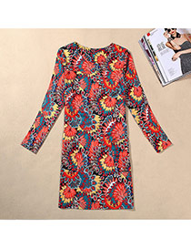 Casual Yellow Peteris Pattern Decorated Long Sleeve Large Size Slim Dress