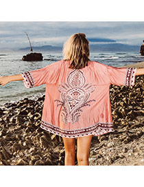 Fashion Pink Painting Flower Pattern Decorated Three Quarter Sleeve Blouse