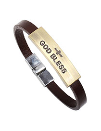 Fahion Brown God Bless Letter Decorated Simple Bracelet