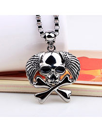 Exaggerated Silver Color Skull Pendant Decorated Simple Necklace
