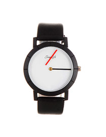 Elegant White+black Letter Pattern Decorated Pure Color Strap Simple Watch?