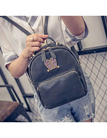 Cute Black Rabbit Shape Decorated Pure Color Backpack