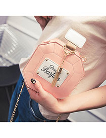 Cute Pink Metal Tassel Decorated Perfume Bottles Shape Shoulder Bag