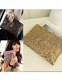 Elegant Gold Color Sequins Decorated Pure Color Messenger Bag