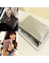 Elegant Silver Color Sequins Decorated Pure Color Messenger Bag