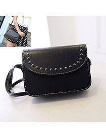 Vintage Black Rivet Decorated Pure Color Shoulder Bag