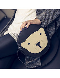 Cute Black Bear Pattern Decorated Round Shape Shoulder Bag