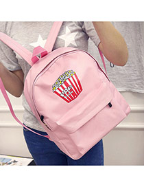 Cute Pink Chips Pattern Decorated Pure Color Backpack