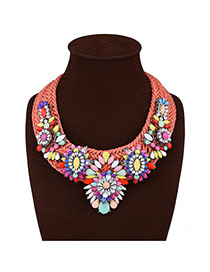 Exaggerated Multi-color Big Flower Shape Decorated Hand-woven Necklace