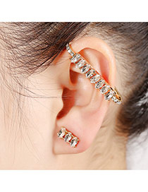 Elegant Gold Color Oval Diamond Decorated Simple Earring