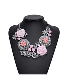 Elegant Pink Big Flower Pendant Decorated Short Chain Necklace
