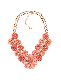 Exaggareted Orange Flower Shape Pendant Decorated Short Chain Necklace
