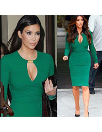 Sexy Green Metal Button Decorated V Neckline Long Sleeve Tight Dress
