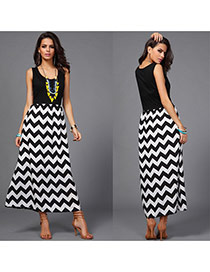 Sexy Black Wave Pattern Decorated Sleeveless O Neckline Long Dress