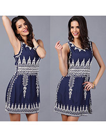 Sexy Blue Regular Geometric Pattern Decorated Sleeveless O Neckline Dress