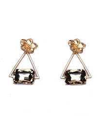 Exaggerated Gold Color Square Gemstone Decorated Triangle Earring
